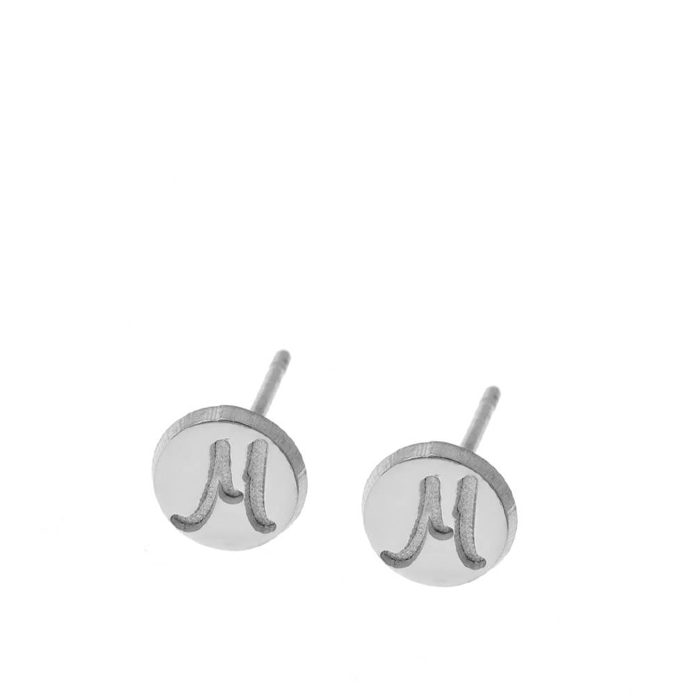 DisqueStud Boucles With Initials silver