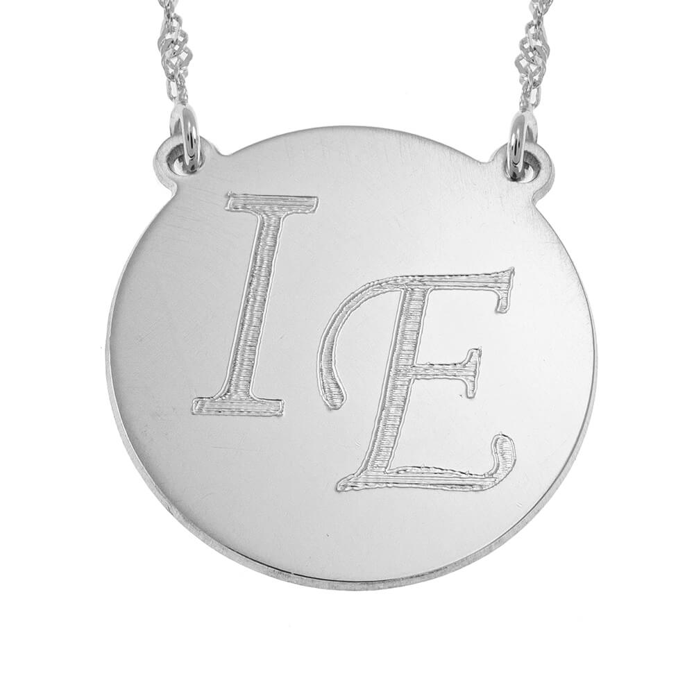 DisqueCollier With Two Initials silver