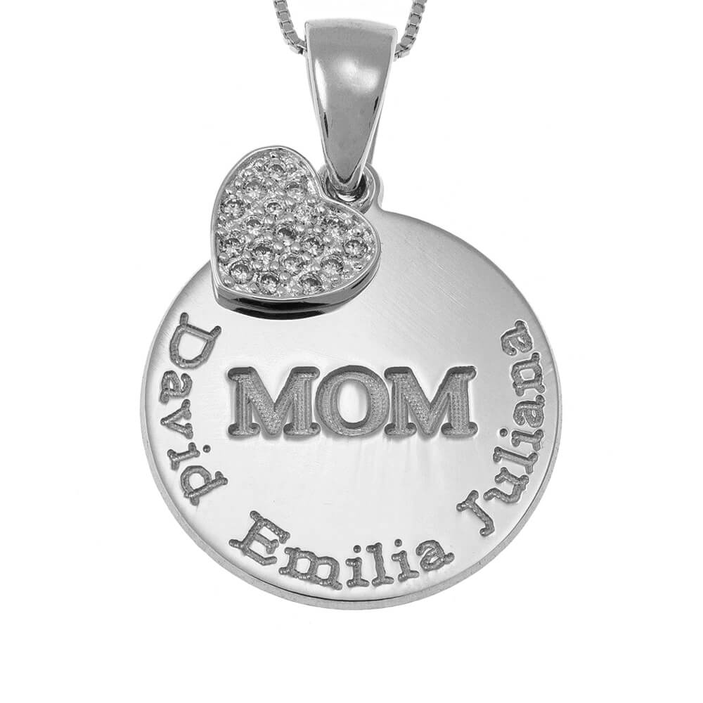 Engraved Mom DisqueCollier With Inlay Cœur silver