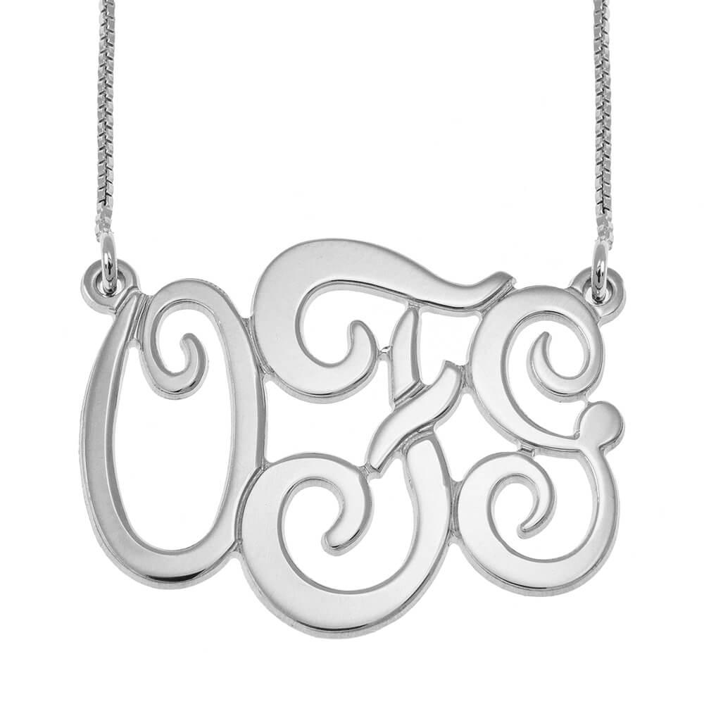 Monogram Three Initials Collier silver