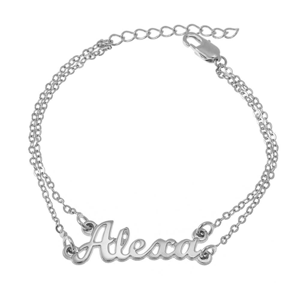 Cut Out prénom Double Chain Bracelet silver