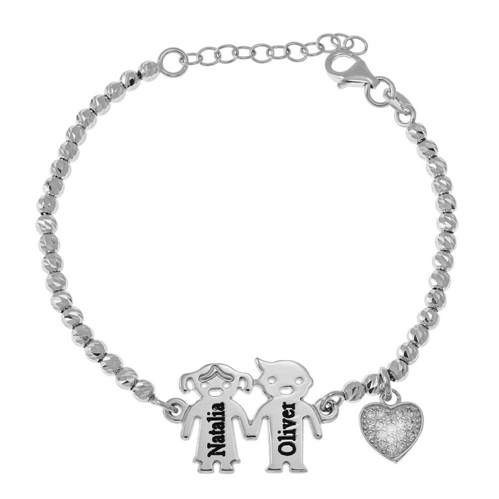 Engraved Children Bead Bracelet With Inlay Cœur silver