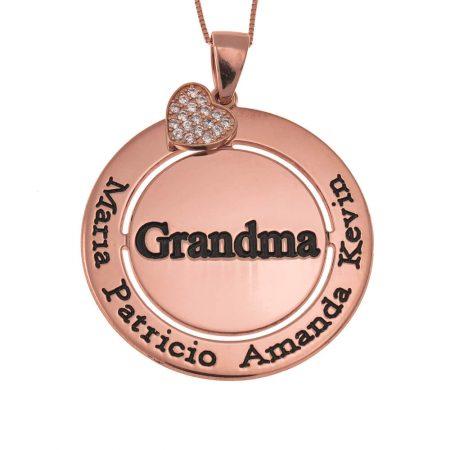 Collier Grand-Mère Cercle  avec Cœur Incrusté étincelant