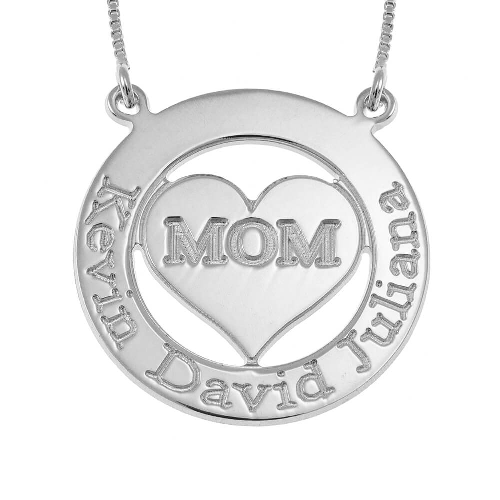 Engraved Circle Mom Collier with Cœur silver