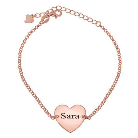 Bracelet à Boules avec Prénom et Cœur