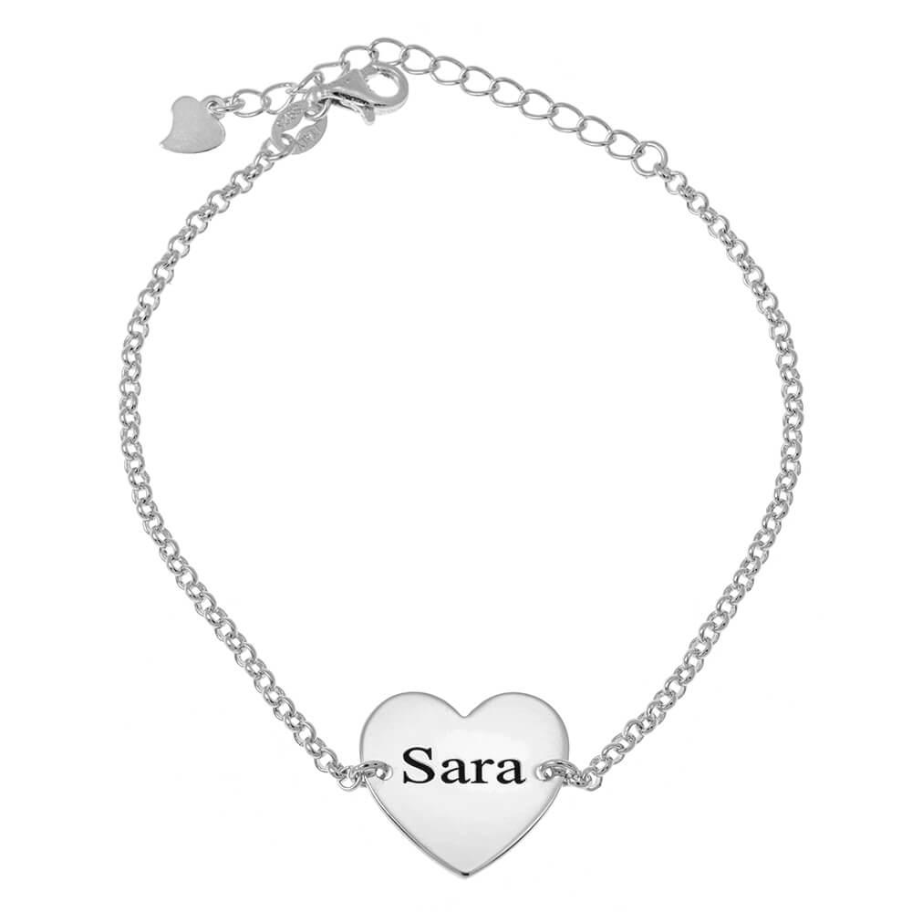 Cœur prénom Bead Bracelet silver