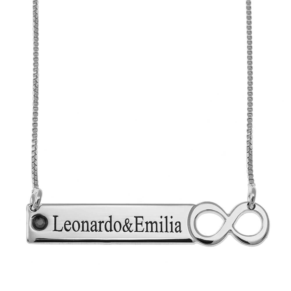 Infinity Barre Collier with engraving silver