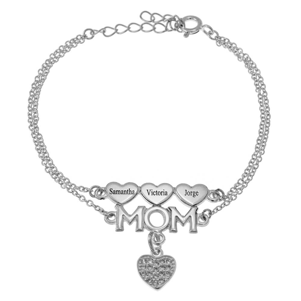 Mom Double Chain Bracelet With Cœurs And Inlay Cœur silver