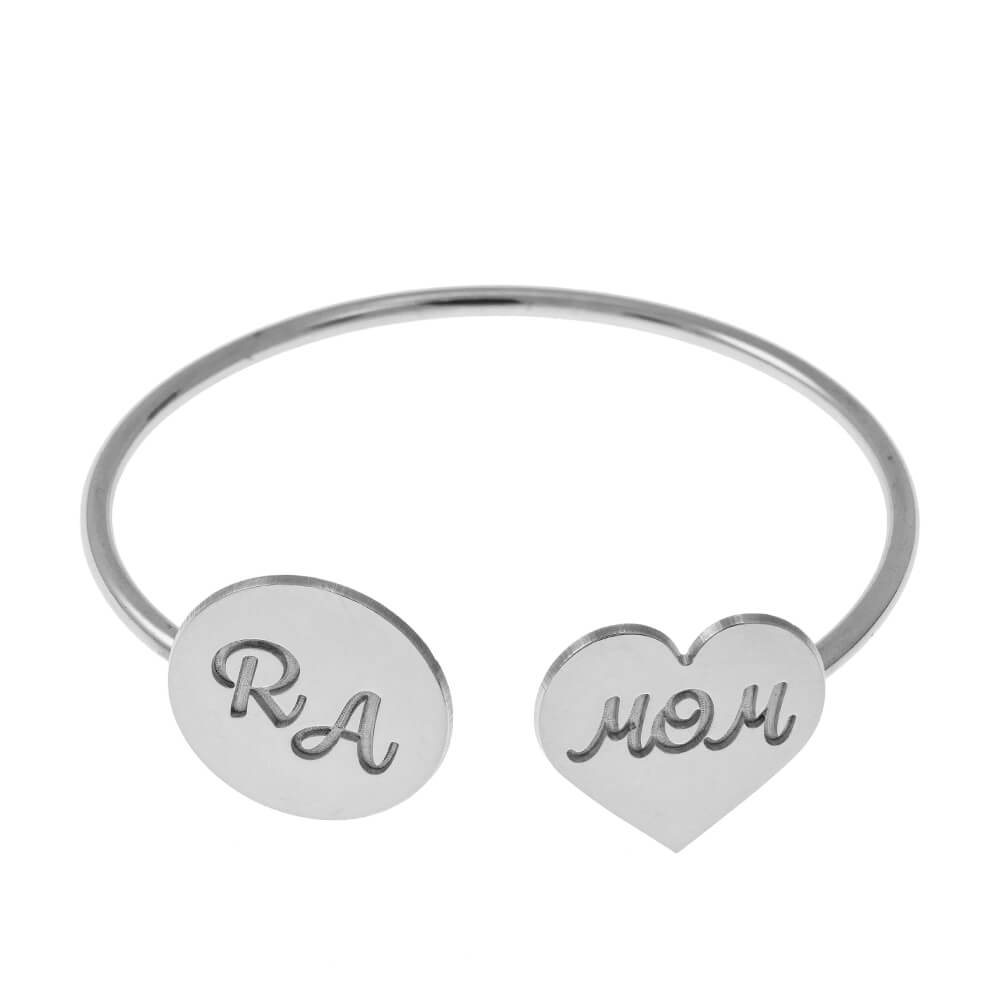 Open Bangle With Mom Cœur and Disquesilver