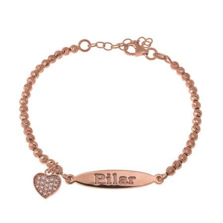 Bracelet à Boules ovales avec Pendentif en Forme de Cœur Incrusté