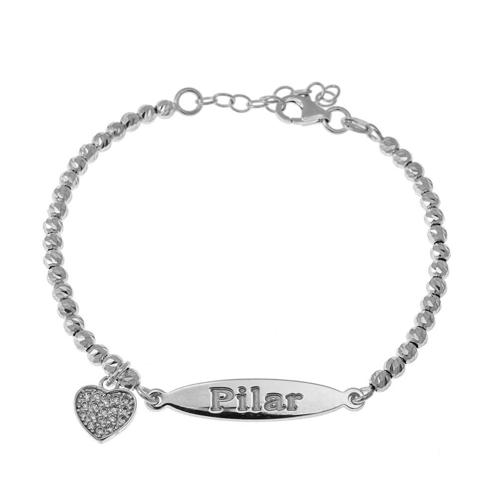 Oval prénom Bead Bracelet With Inlay Cœur Pendentif silver