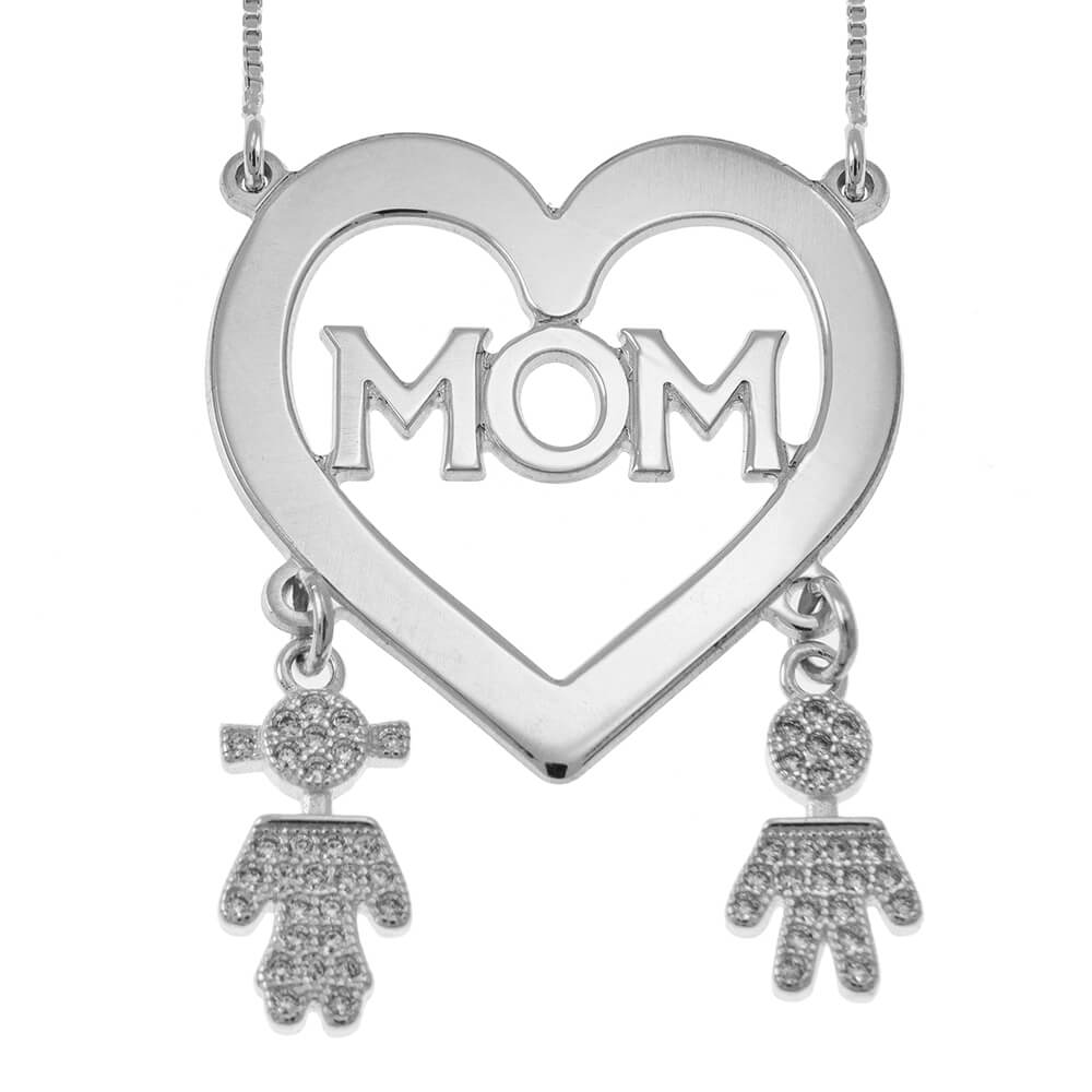 Mom Cœur Collier With Inlay Kids silver