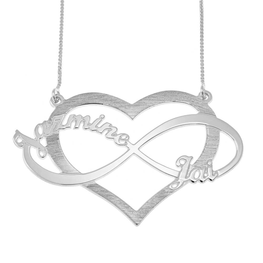 Cut Out Infinity Prénoms and Cœur Collier silver