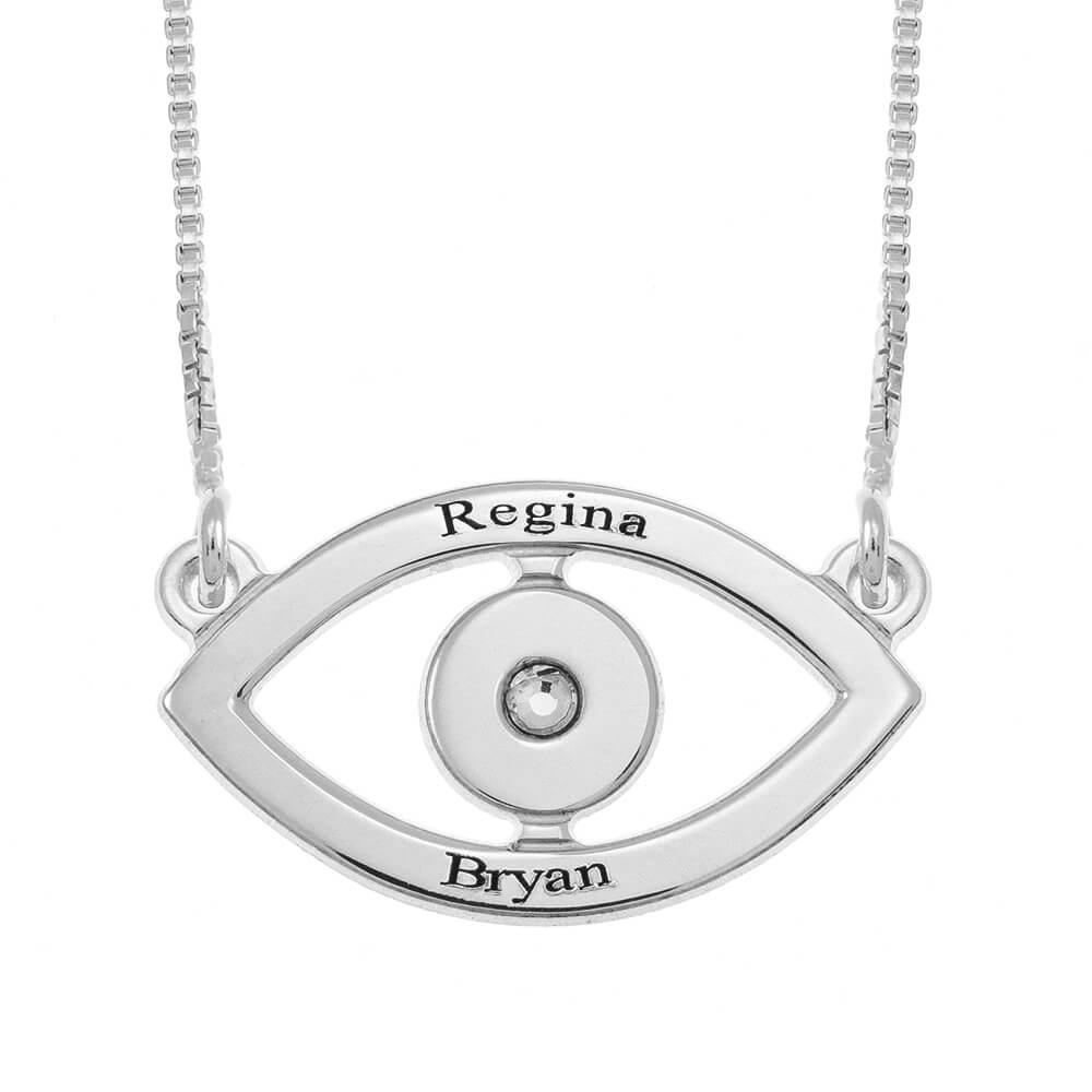Evil Eye Two Prénoms Collier silver