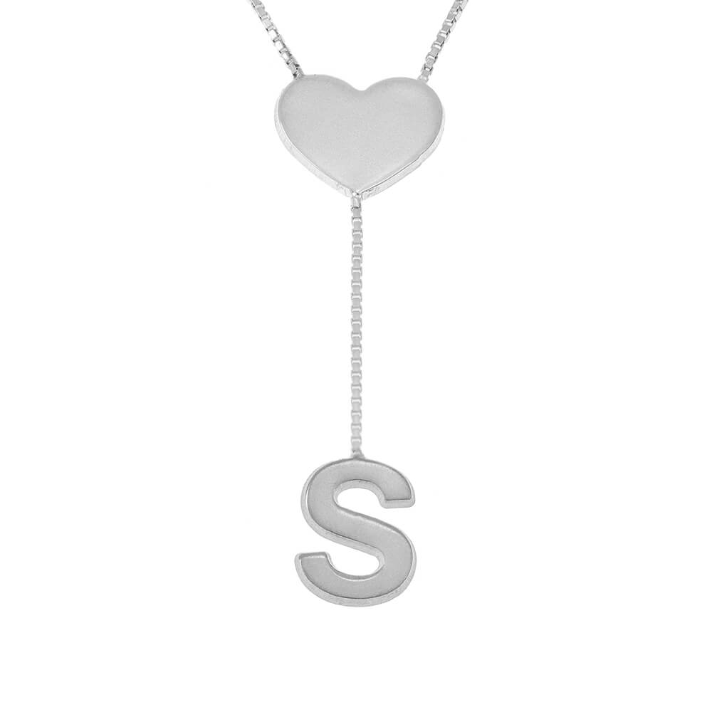 Falling Letter Collier with dainty Cœur silver