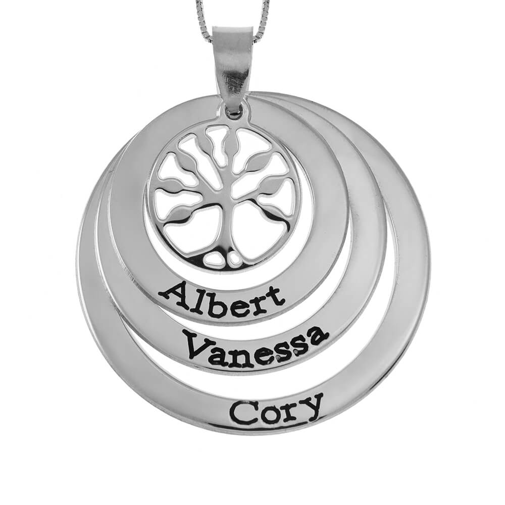 Family Layers Disques Collier With Tree Of Life silver