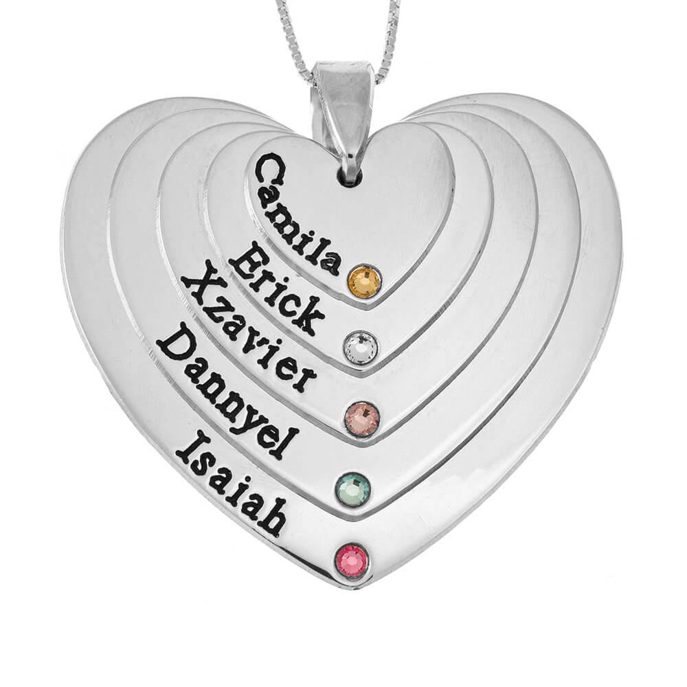 Five Shades Engraved Cœurs Mother Collier With Pierres de naissance silver