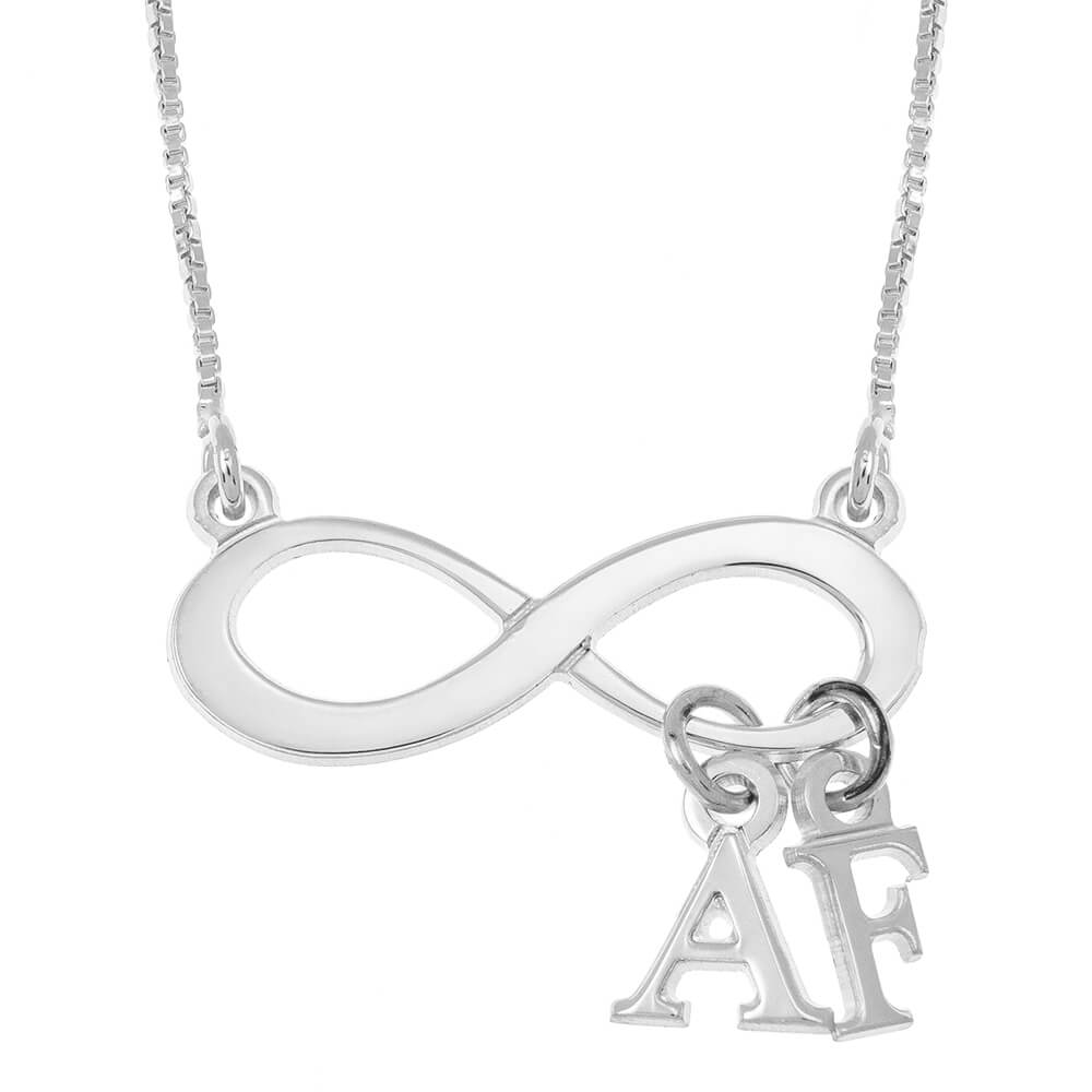 Infinity Collier With Dangling Initials silver