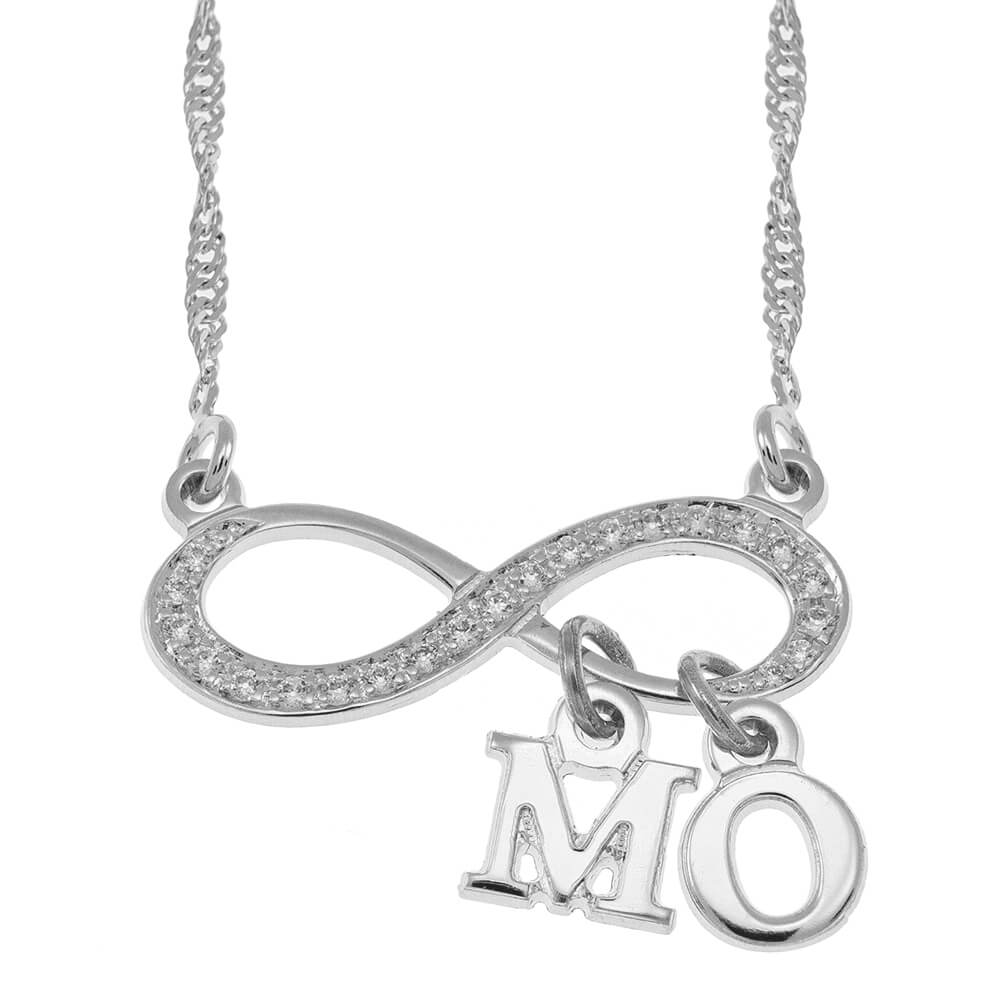 Inlay Infinity Collier With Dangling Initial silver