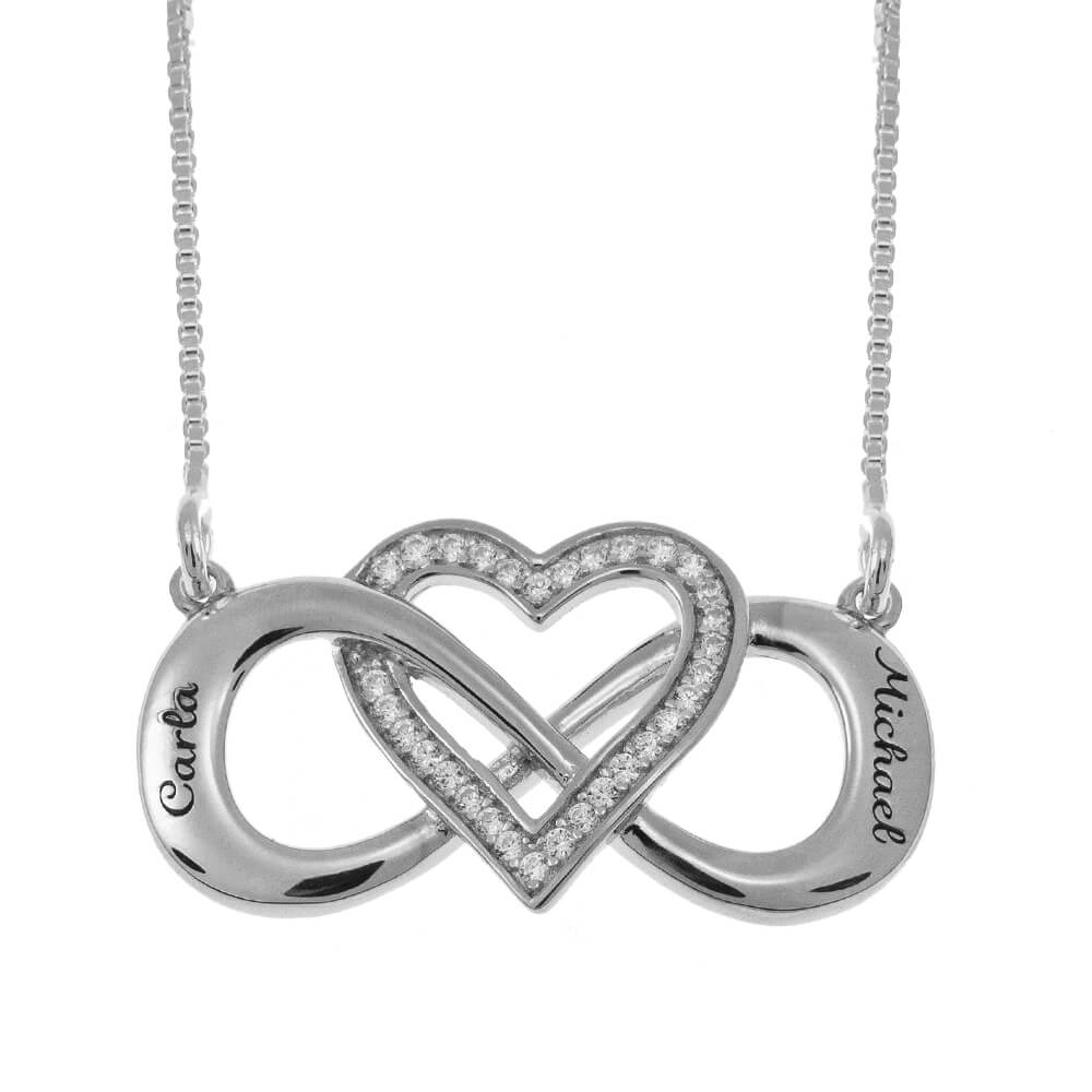 Intertwined Inlay Cœur and Infinity Collier silver