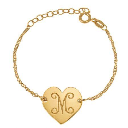 Bracelet Monogramme avec Cœur et Initiales