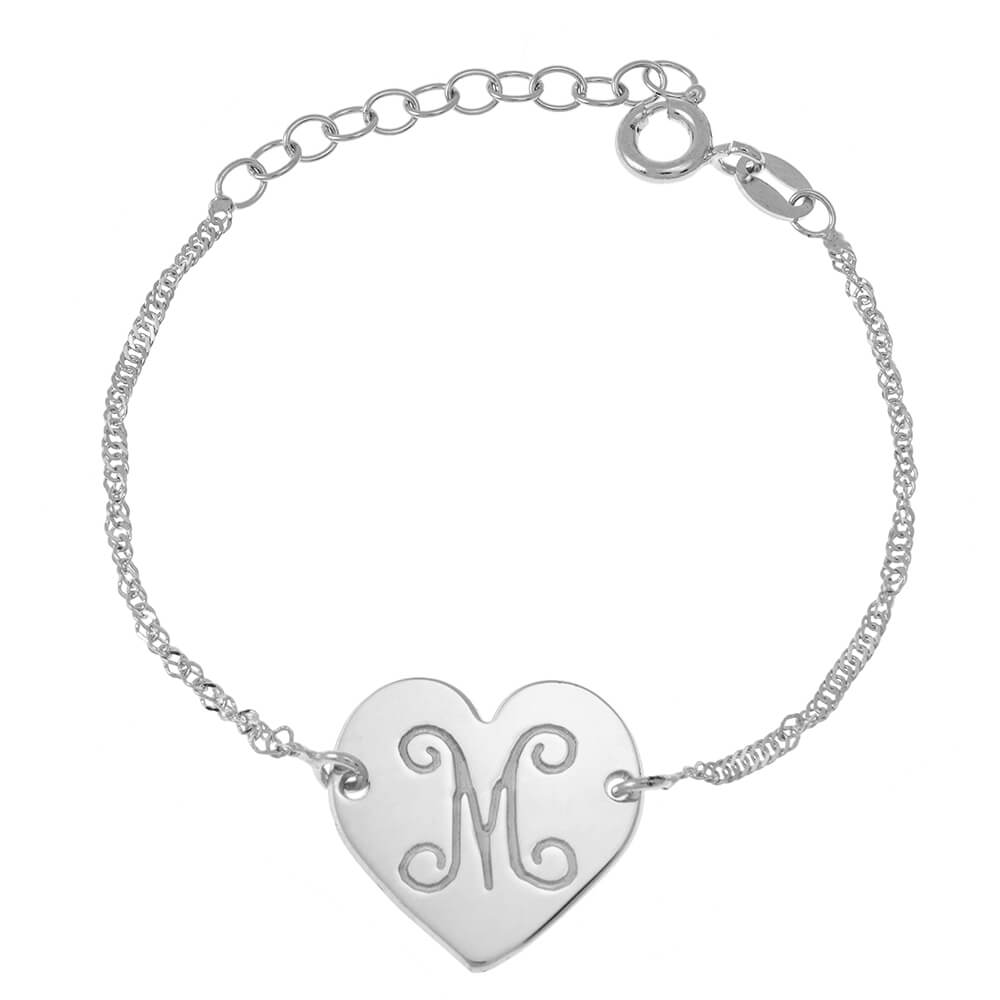 Monogram Initial Cœur Bracelet silver