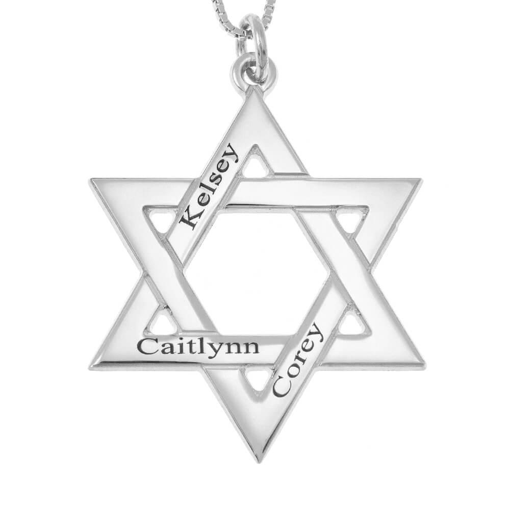 Star of David Prénoms Collier silver