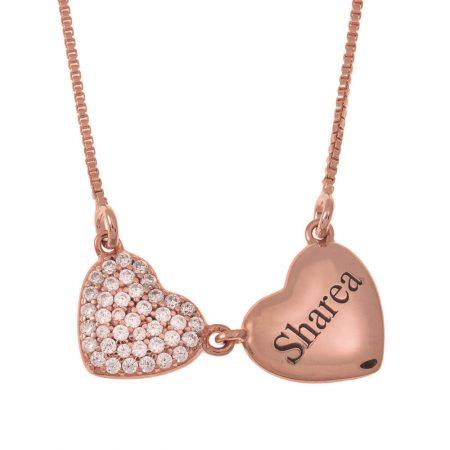 Collier Prénom avec Deux Cœurs
