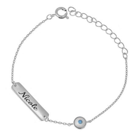 Bracelet Femme avec Plaque à Prénom et Mauvais Œuil