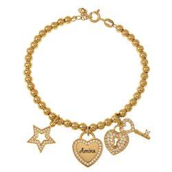 Bead prénom Bracelet with Breloques gold