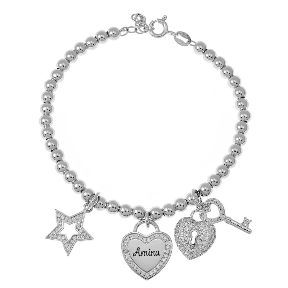 Bead prénom Bracelet with Breloques silver