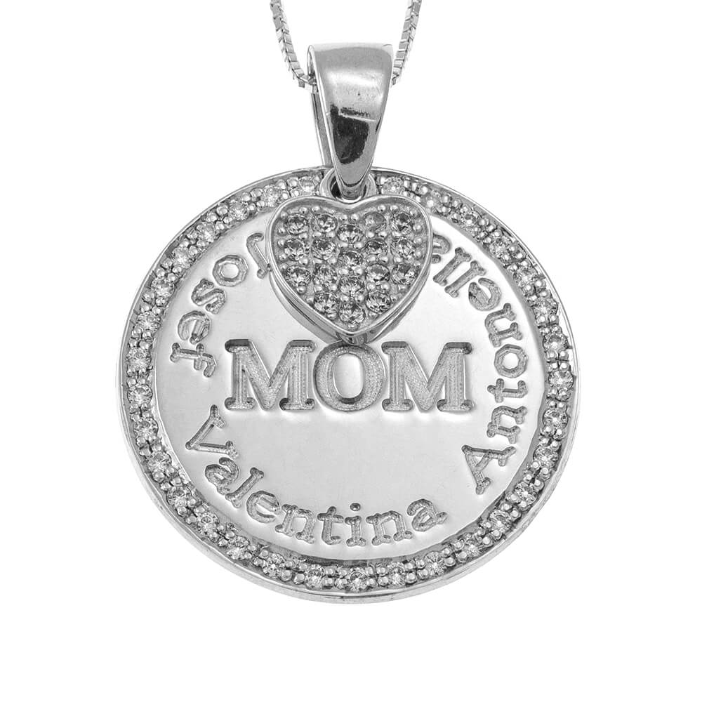 Circle Mother Collier With Inlay Cœur silver