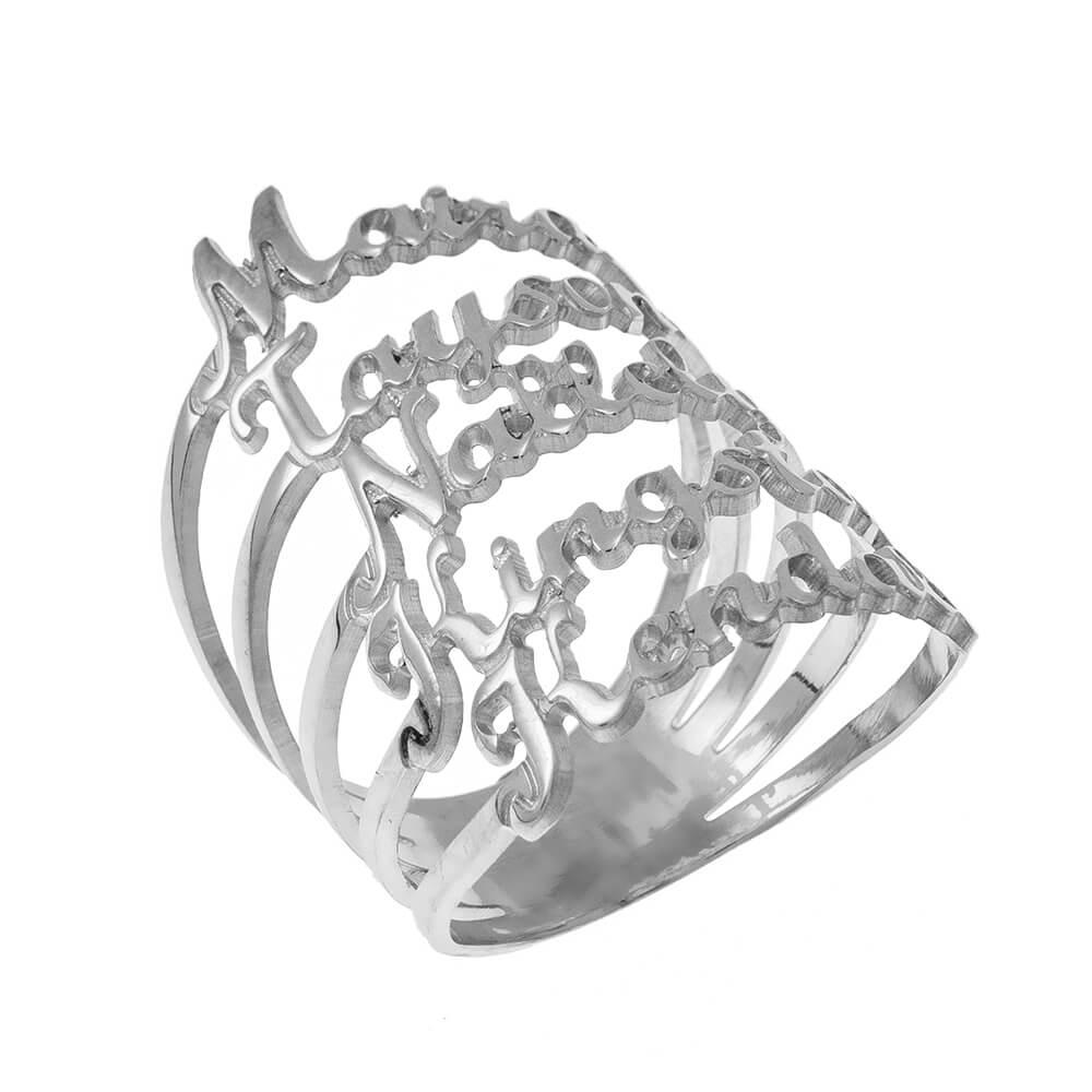 Cut Out Prénoms 5 Bague silver