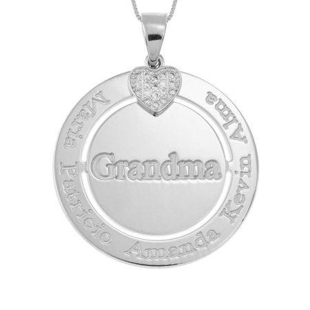Collier Grand-Mère Cercle Gravé avec Cœur Incrusté