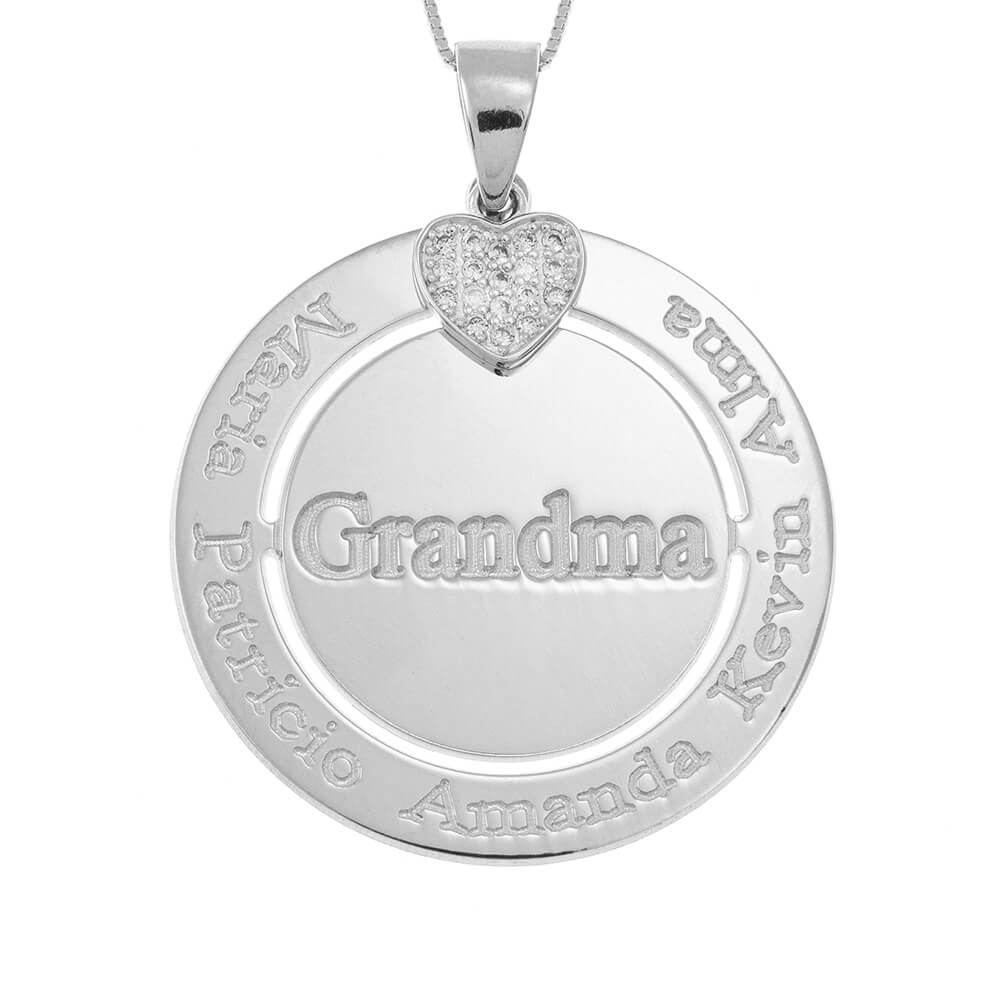 Engraved Circle Grandma Collier with Inlay Cœur silver