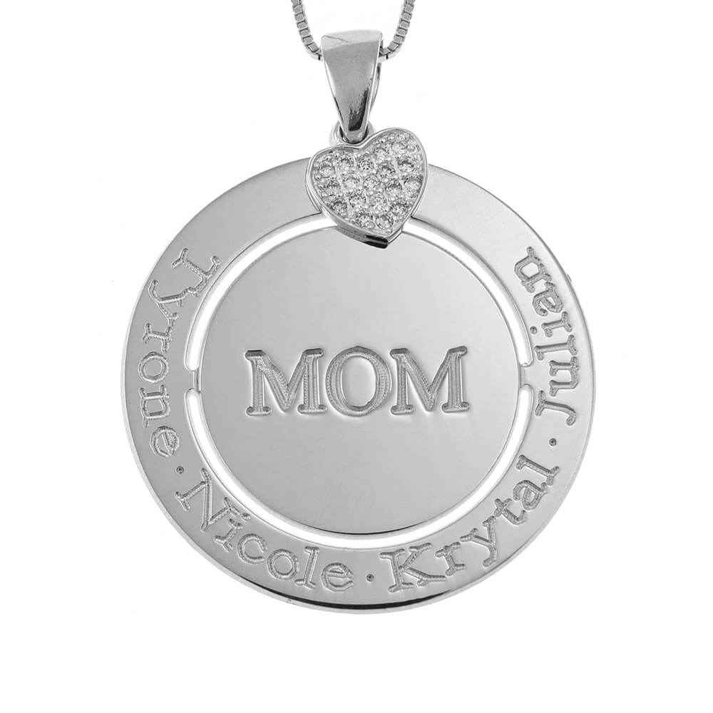 Engraved Circle Mom Collier with Inlay Cœur silver