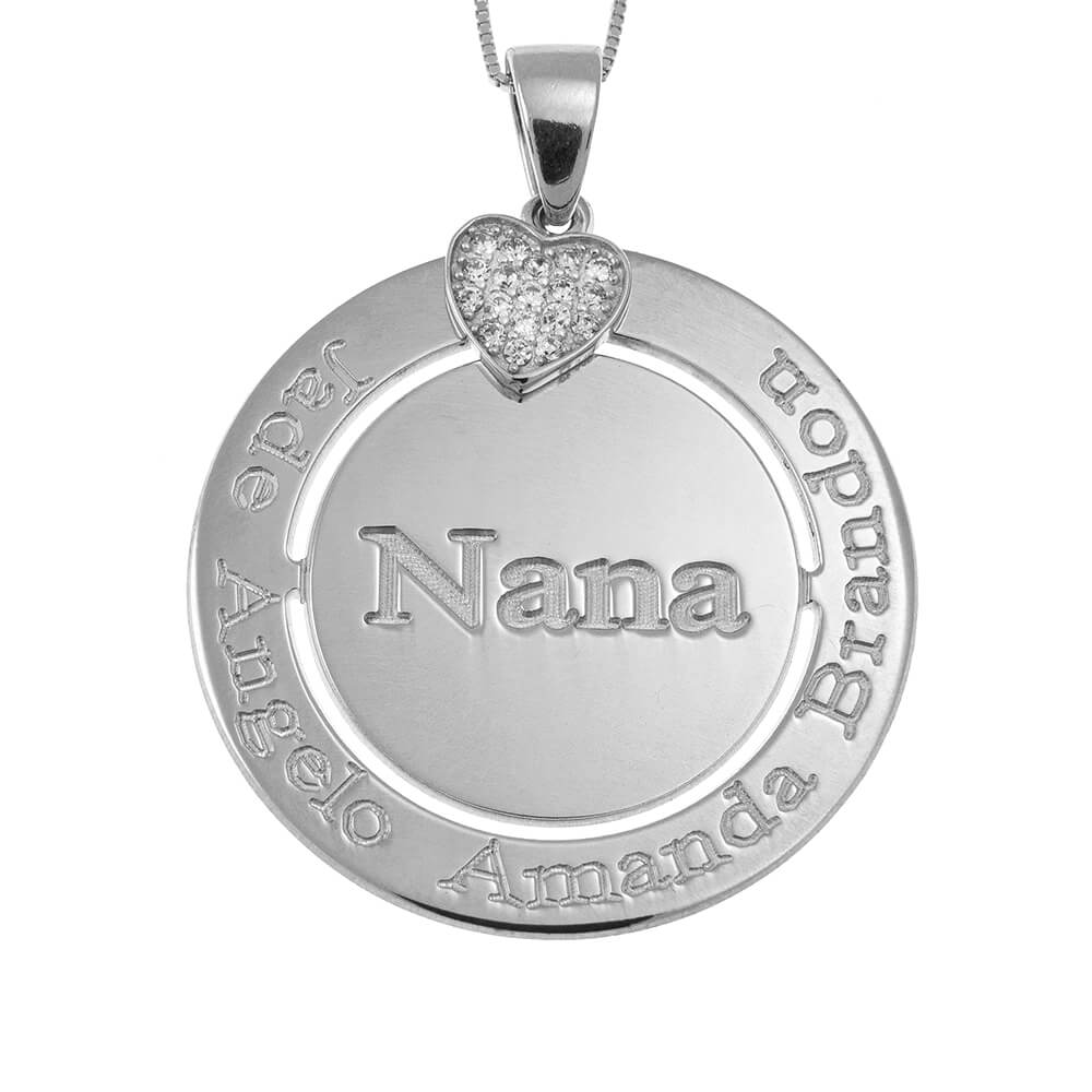 Engraved Circle Nana Collier with Inlay Cœur silver