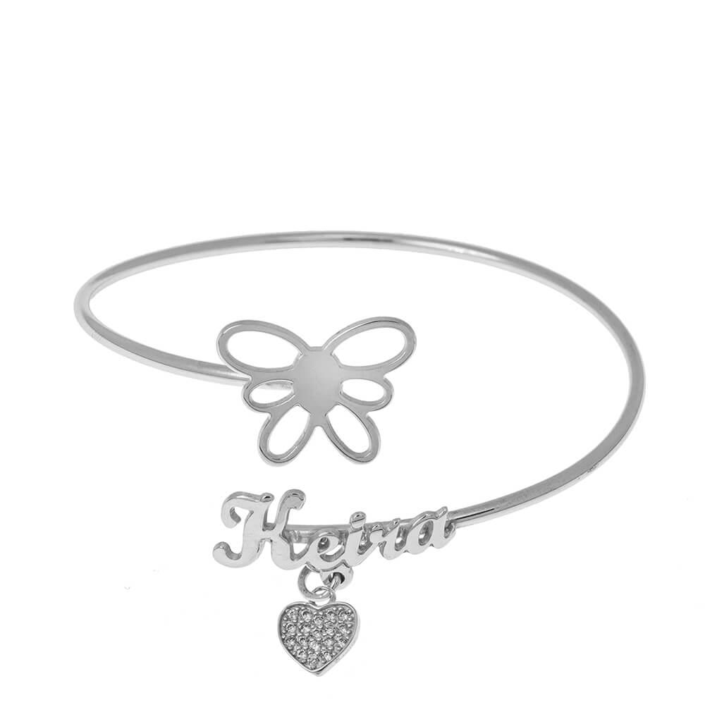 Flex prénom Bracelet With Butterfly silver