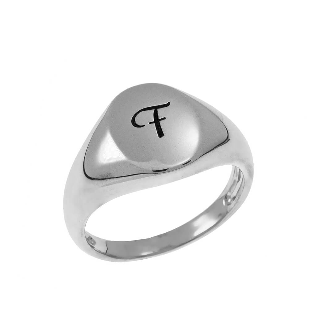 Initial Oval Signet Bague silver