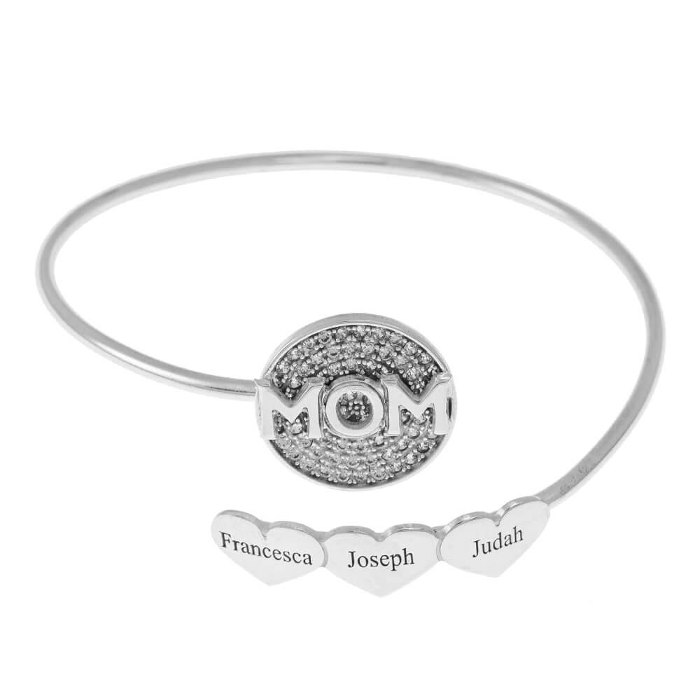 Inlay Mom Flex Bracelet With Cœurs silver
