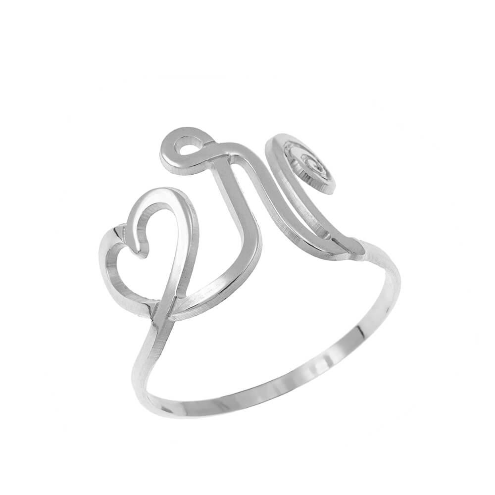 Interlocking Cœur and Initial Bague silver