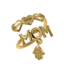 MOM Prénoms Bague With Cœurs gold