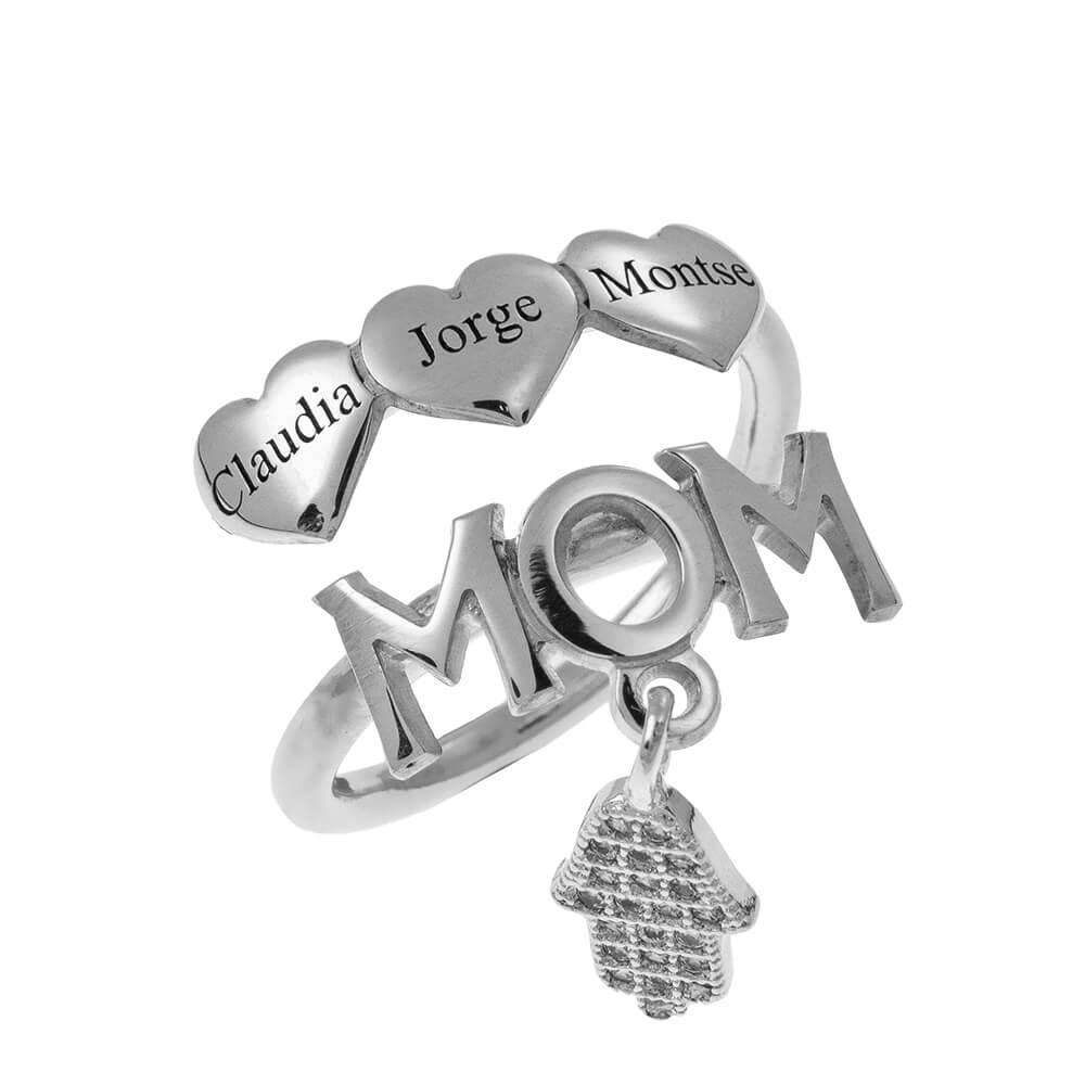 MOM Prénoms Bague With Cœurs silver