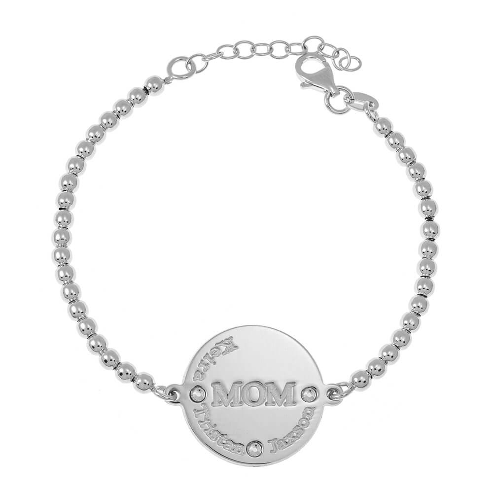 MoM DisqueBead Prénoms Bracelet silver