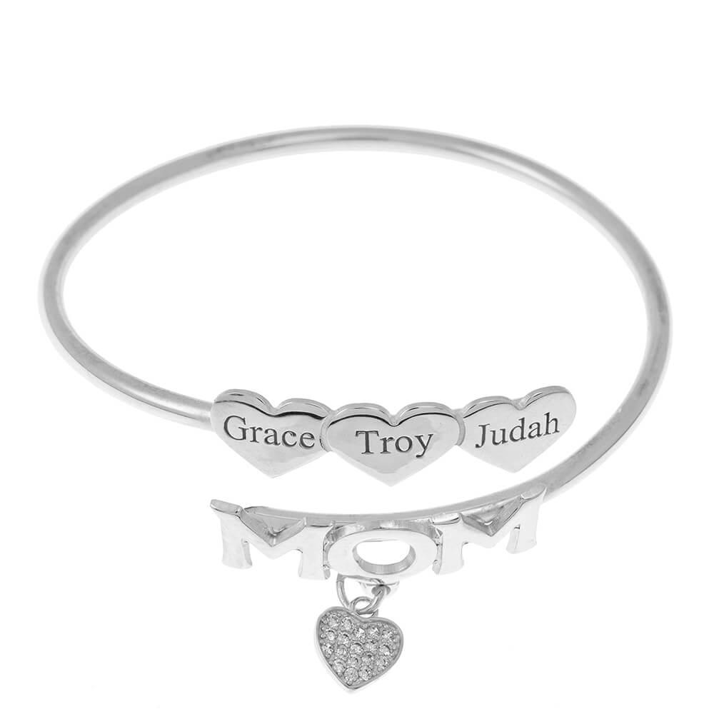Mom Flex Bracelet With Cœurs silver