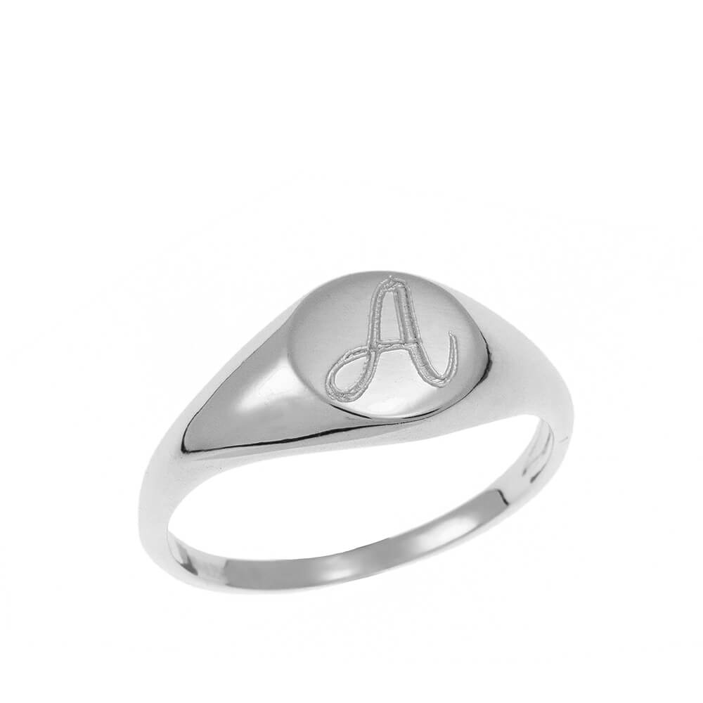 Oval Signet Initial Bague silver