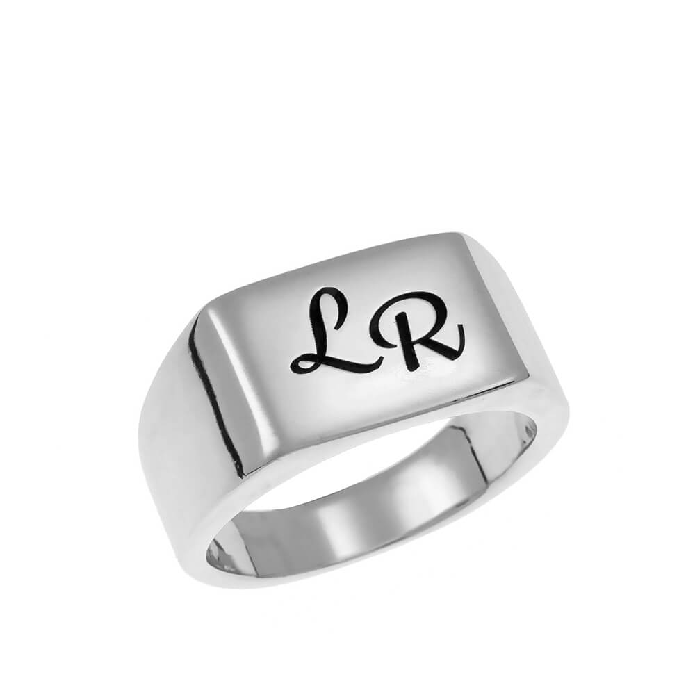 Two Initials Signet Bague silver