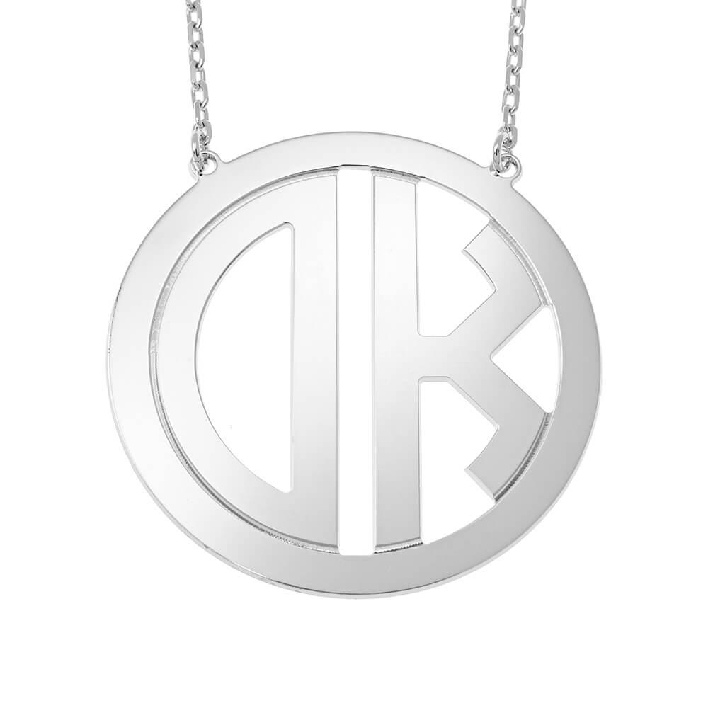 Circle Block Monogram Collier silver