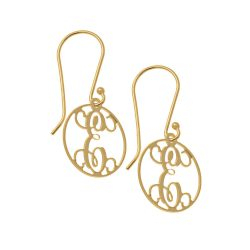 Circle Dangle Monogrammed Boucles gold