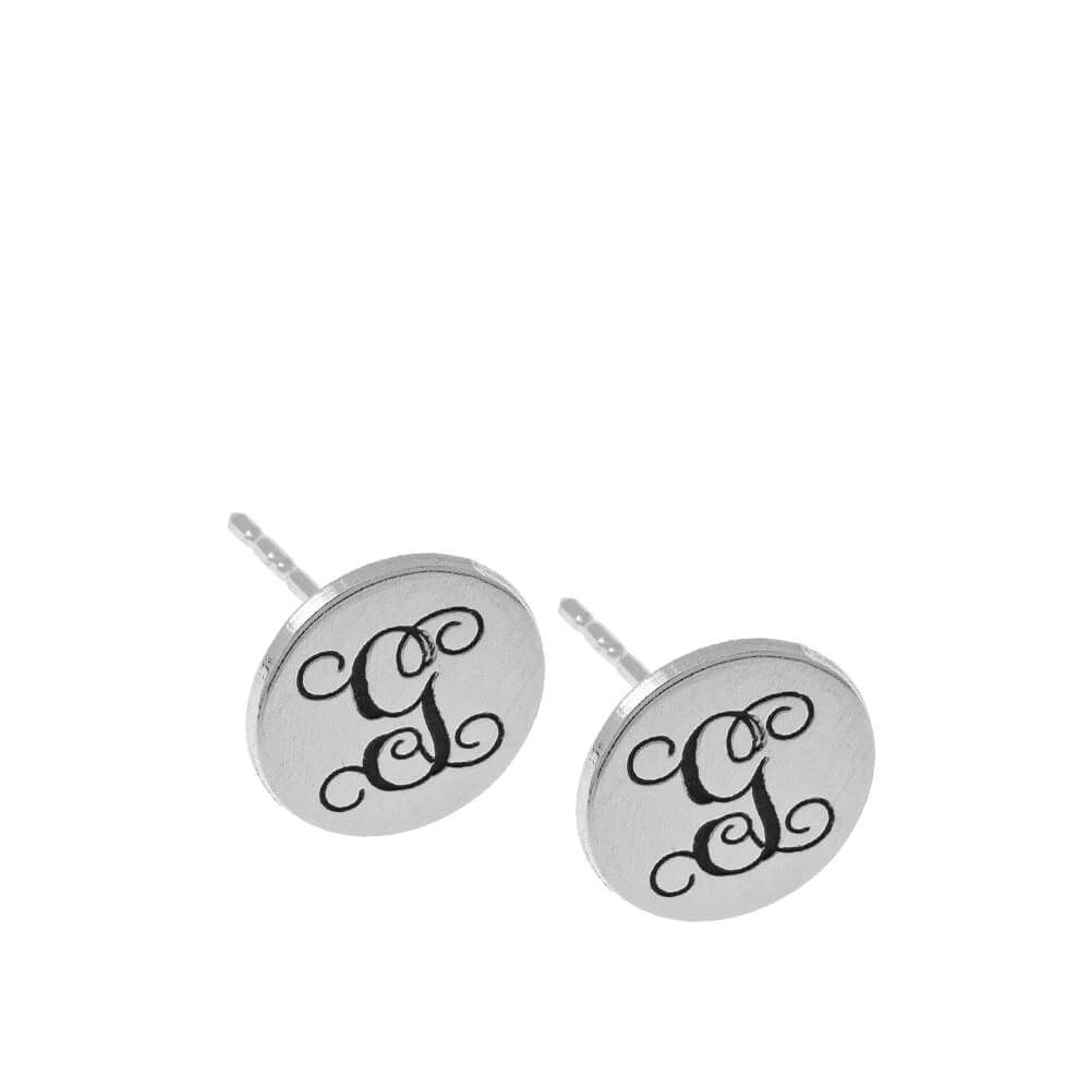 Circle Monogram Stud Boucles silver